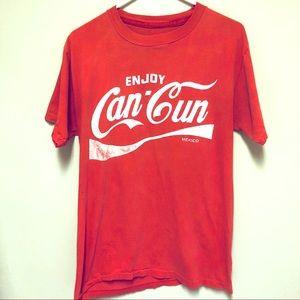 {Vintage} Enjoy Cancún Coca-Cola Style Red Tee